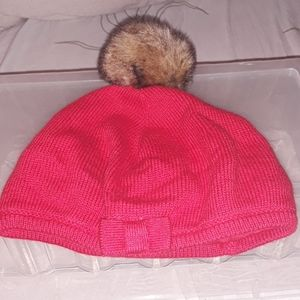 Janie and Jack red sweater hat faux fur pom